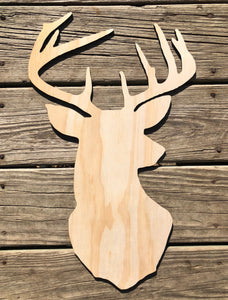 "19"" Deer Head Door Hanger Wood Cutout"