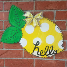 "Load image into Gallery viewer, 20"" x 13"" Lemon With Leaves Door Hanger Wood Cutout"