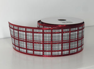 "2.5"" x 10 Yard Wired Grey and Red Glitter  Plaid Wreath Ribbon"