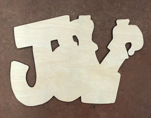 "16"" JOY with Elf Feet Wood Door Hanger Cut Out"