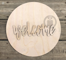 "Load image into Gallery viewer, 15"" Circle And Welcome Door Hanger Wood Round Cutout"