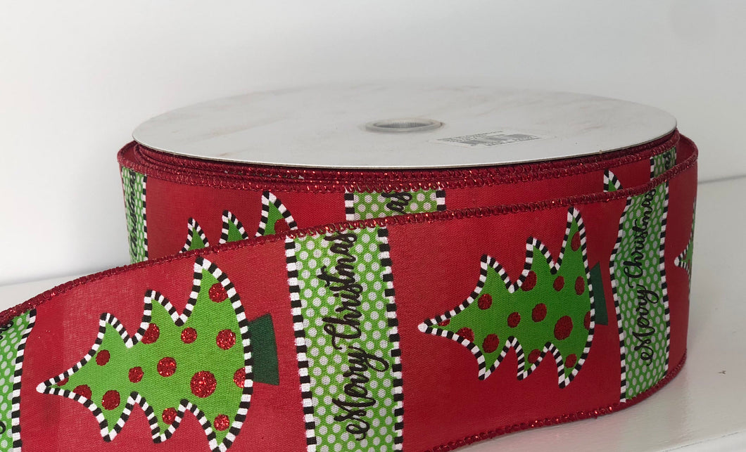 "2.5"" x 50 Yard Merry Christmas With Tree Wired Ribbon"