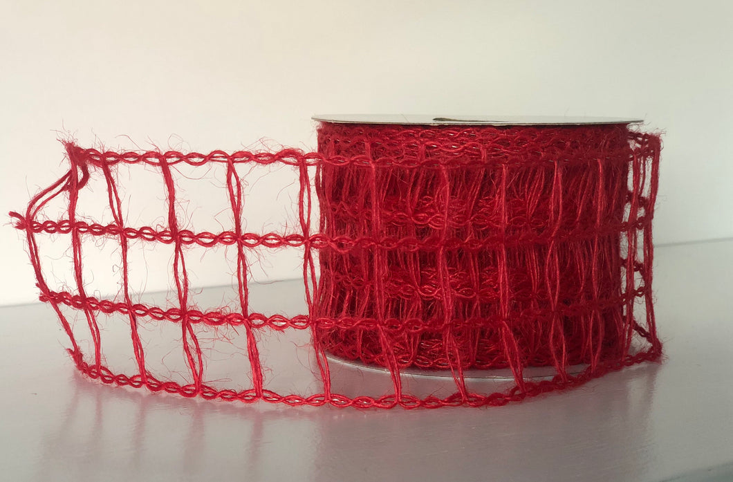 "2.5"" x 10 Yard Wired Red Open Weave Ribbon"
