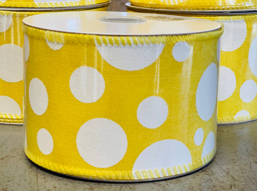 "2.5"" x 10 Yard Yellow Multi Size Dots Wired Ribbon"