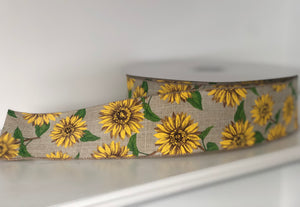"2.5"" x 50 Yard Wired Burlap and Sunflower Ribbon"