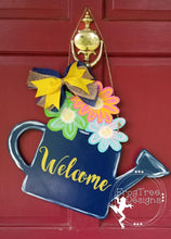 "Load image into Gallery viewer, 19"" Wide Watering Can Cutout Wood Door Hanger"