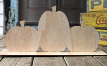 "Load image into Gallery viewer, 19"" x 9.5"" Triple Pumpkins With Stand Wood Cutout"