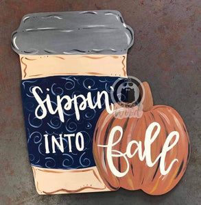 "22"" pumpkin with coffee cup Door Hanger Wood Cutout"