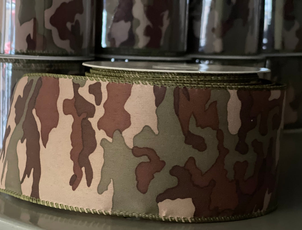 "2.5"" x 10 Yard Camo Wired Ribbon"
