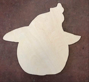 "21"" x 19"" Pumpkin with Witch Hat Door Hanger Wood Cutout"