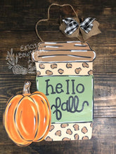 "Load image into Gallery viewer, 22"" pumpkin with coffee cup Door Hanger Wood Cutout"