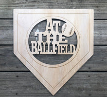"Load image into Gallery viewer, 19"" At The Ballfield Door Hanger Wood Cutout"