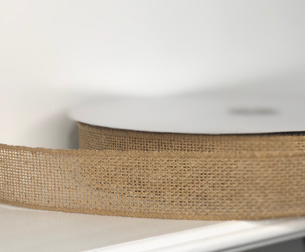 "1.5"" x 50 Yard Khaki Burlap Wired Ribbon"