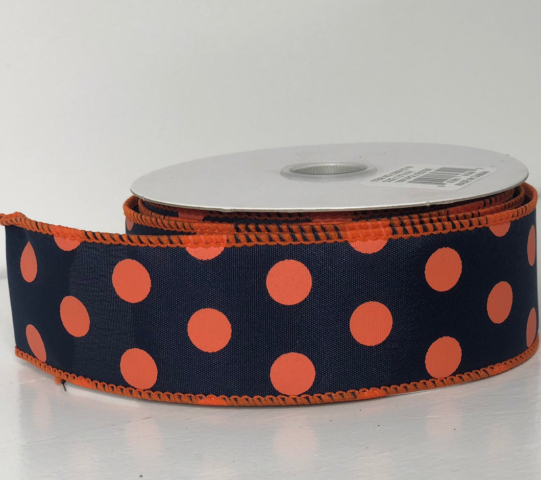 "1.5"" x 10 Yard Navy Blue with Orange Polka Dot  Wired Ribbon"