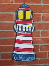 "Load image into Gallery viewer, 22"" x 10"" Lighthouse Door Hanger Wood Cutouts"