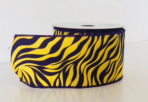 "2.5"" x 10 Yard Purple and Gold Tiger Striped Wired Ribbon"