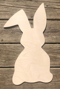 "19"" Easter Bunny With Bent Ear Wood Door Hanger"
