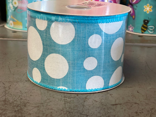 "2.5"" x 10 Yard Blue Multi Size Dots Wired Ribbon"