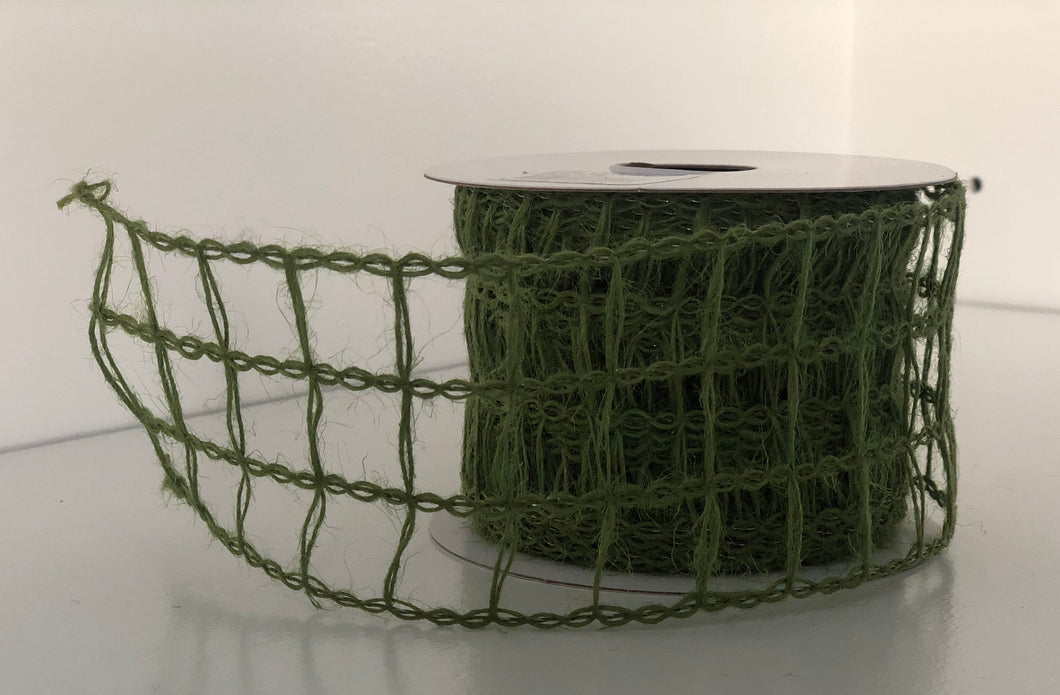"2.5"" x 10 Yard Wired Moss Green Open Weave Ribbon"