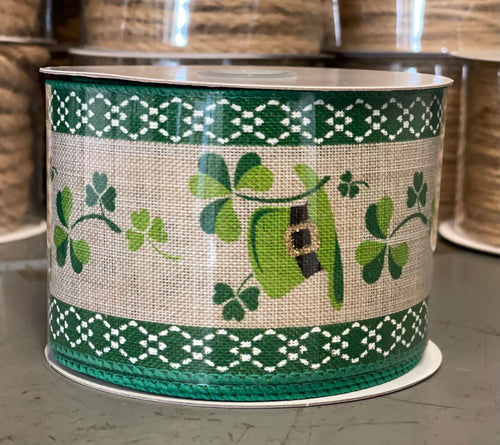 "2.5"" x 10 Yard Burlap Clovers and Leprechaun Hats Wired Ribbon"