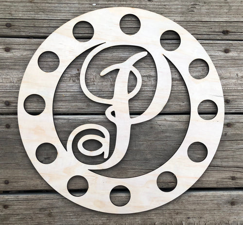 "15"" Monogram Round With Ribbon Holes Door Hanger Wood Cutout"