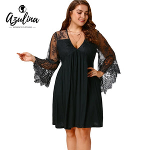 Plus Size 5XL Sexy Lace Flare Sleeve Empire Waist Tunic Women  Dress