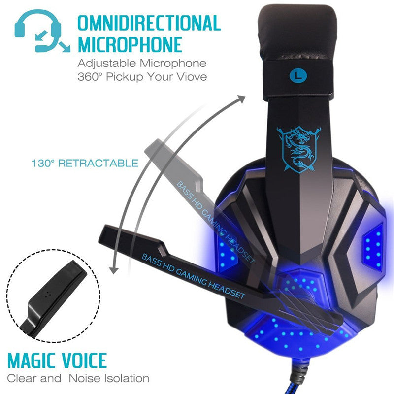 Stereo Gaming Headset for Xbox one PS4 PC Surround Sound Over-Ear with Mic  Noise Cancelling LED Lights