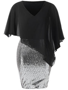 Plus Size Chiffon Mesh Overlay Sequin Elegant Evening Party Dresses for Women Big Size Cape Dress Robe