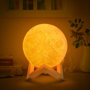 3D Print Moon Lamp 2 Colors LED Night Light for Home Decoration