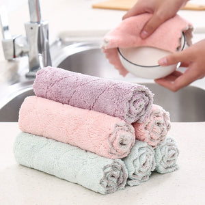 Kitchen Towels Absorbent Thicker Double-layer Microfiber Wipe Table Kitchen Towel Cleaning Dish