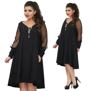 2019 Plus size women dress mesh party dress large size
