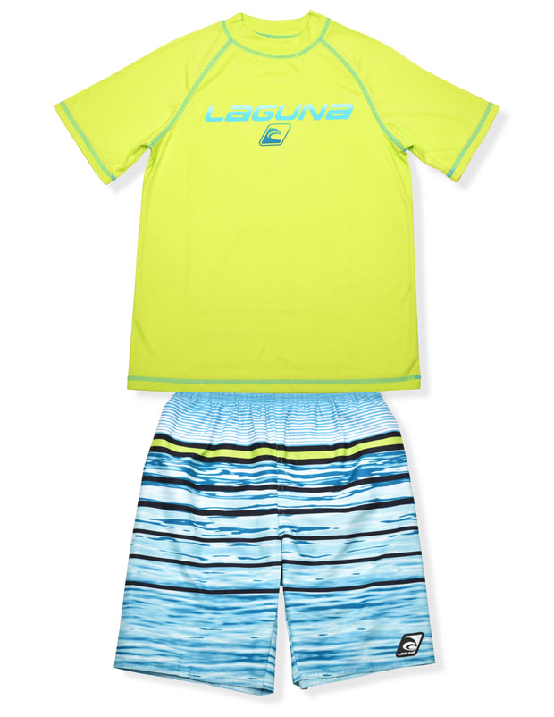 BOYS WATER STRIP RASHGUARD & BOARDSHORT SET UPF 50