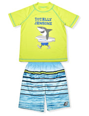 BOYS TOTALLY JAWSOME RASHGUARD & BOARDSHORT SET UPF 50