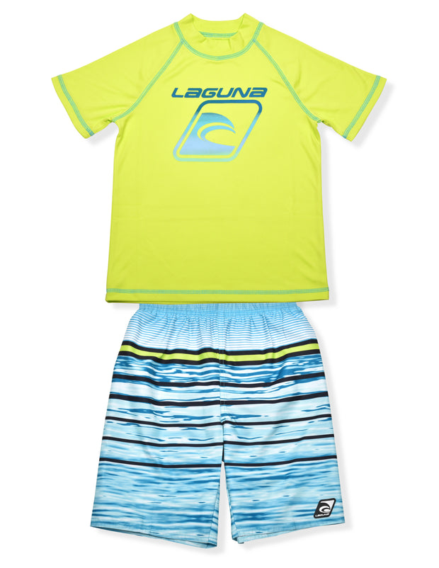 BOYS WATER STRIPE LIME RASHGUARD & BOARDSHORT SET UPF 50