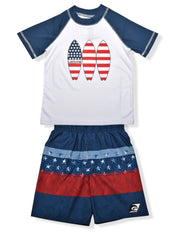 BOYS AMERICANA BLOCKED BLUE RASHGUARD & BOARDSHORT SET UPF 50