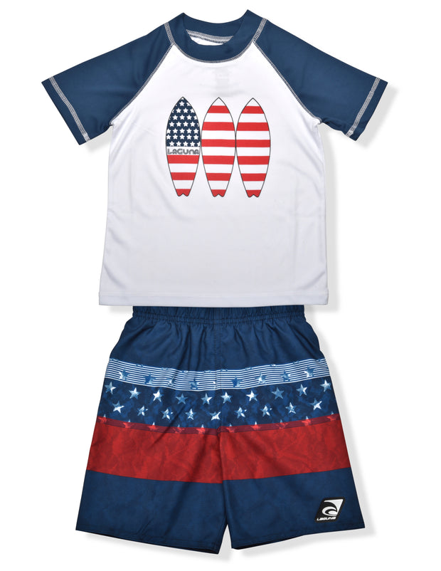 BOYS AMERICANA BLOCKED RASHGUARD & BOARDSHORT SET UPF 50