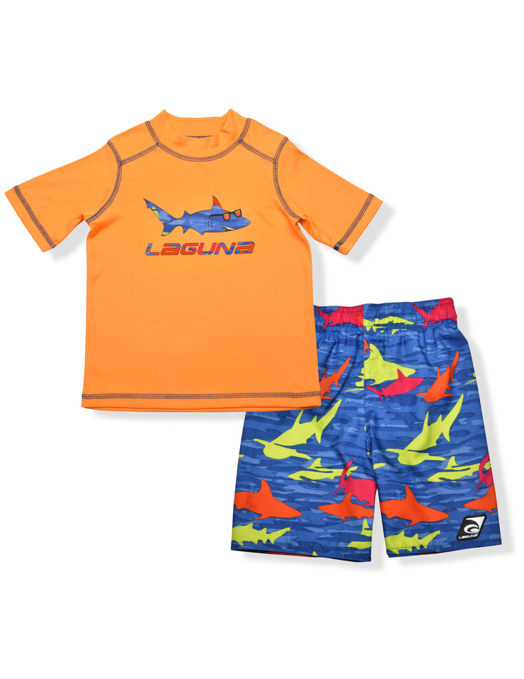 BOYS CAMO SHARK RASHGUARD & BOARDSHORT SET UPF 50