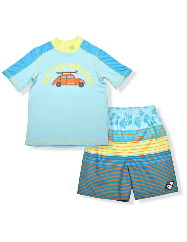 BOYS TO THE BEACH RASHGUARD & BOARDSHORT SET UPF 50