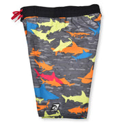 BOYS CAMO SHARK BLACK RAINDBOW BOARDSHORT UPF 50