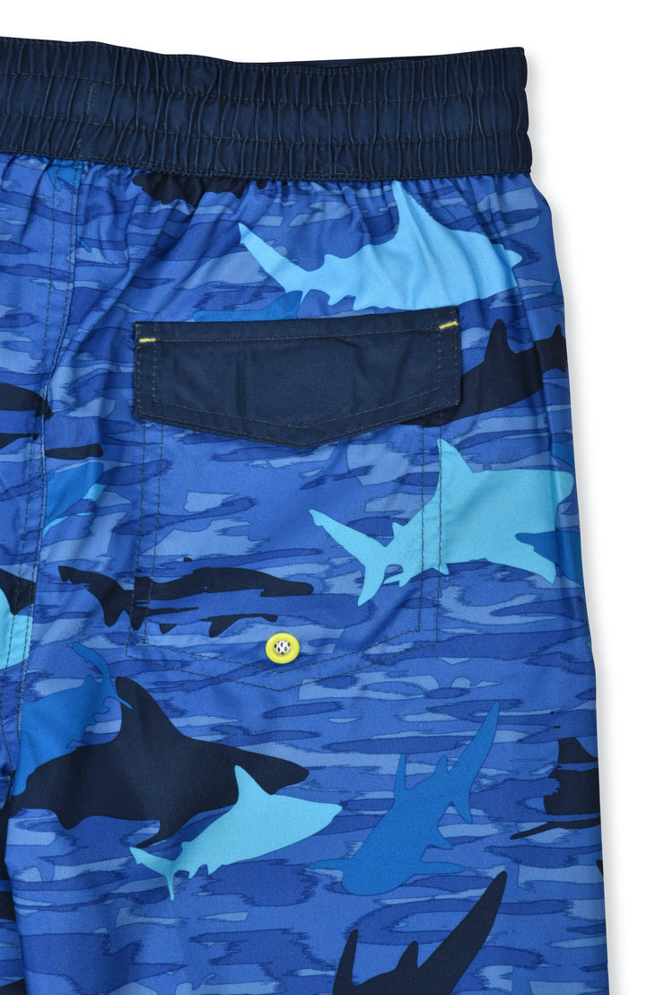 BOYS CAMO SHARK BLUE BOARDSHORT UPF 50