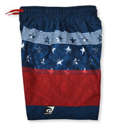 BOYS AMERICANA BLOCKED BLUE BOARDSHORT UPF 50