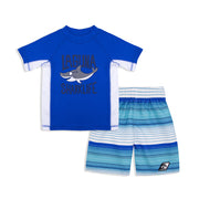 BOYS SHARKLIFE RASHGUARD & BOARDSHORT SET