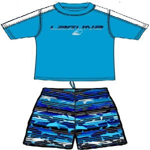 BOYS SHARKFINS RASHGUARD & BOARDSHORT SET UPF 50