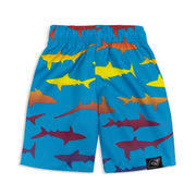 BOYS RAINBOW SHARK RASHGUARD & BOARDSHORT SET UPF 50