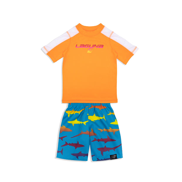 BOYS RAINBOW SHARK RASHGUARD & BOARDSHORT SET