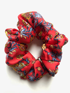 Red paisley print silk scrunchie