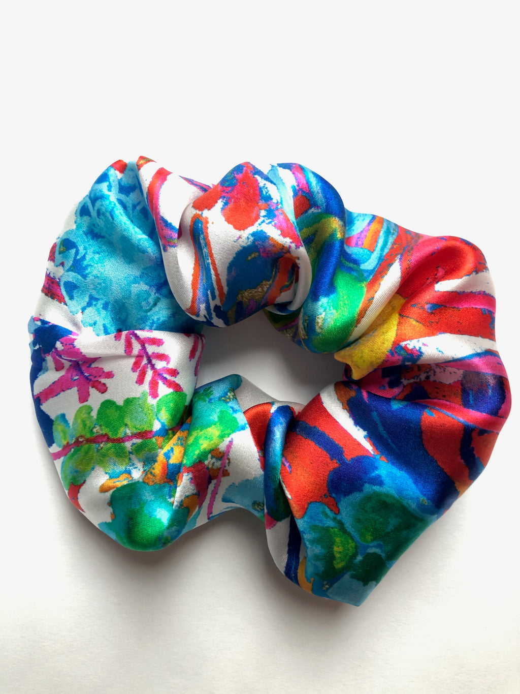 Tropical floral print silk scrunchie.