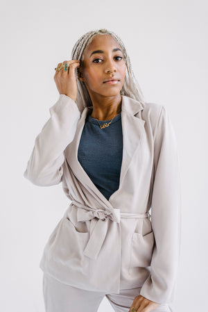 Farrah Wrap Jacket in Sand