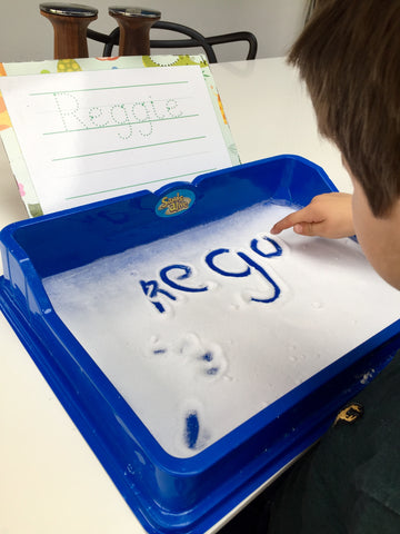 learn to write, Letter tracing in a Salt Tray, My Little Learner