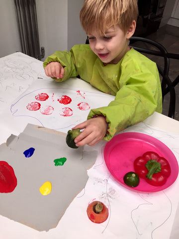 fine motor activities, vegetable painting